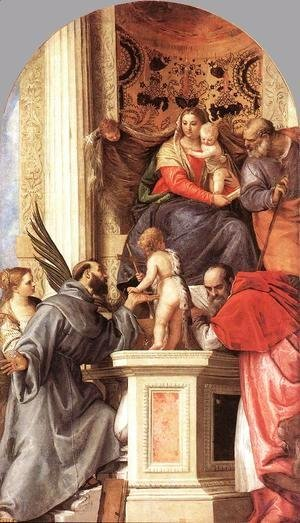 Paolo Veronese (Caliari) - Madonna Enthroned with Saints c. 1562