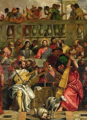 Paolo Veronese (Caliari) - The Marriage Feast at Cana, detail of Christ and musicians, c.1562