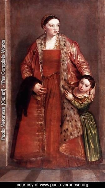 Paolo Veronese (Caliari) - Portrait of Countess Livia da Porto Thiene and her Daughter, Portia, c.1551
