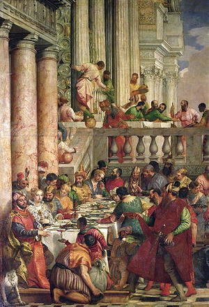 Paolo Veronese (Caliari) - The Marriage Feast at Cana, detail of the left hand side, c.1562