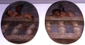 Two winged putti climbing over a balustrade, roundels from the sacristy