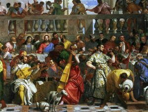 Paolo Veronese (Caliari) - The Marriage Feast at Cana, detail of musicians and dogs, c.1562