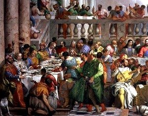 Paolo Veronese (Caliari) - The Marriage Feast at Cana, detail of banqueting table with man in a green robe and dwarf with a parrot, c.1562