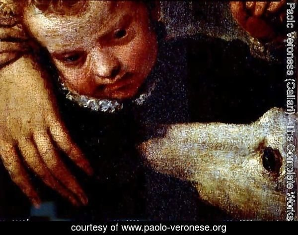 Portrait of a Woman with a Child and a Dog, detail of the heads of the child and the dog