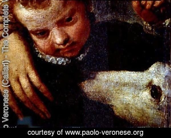 Paolo Veronese (Caliari) - Portrait of a Woman with a Child and a Dog, detail of the heads of the child and the dog