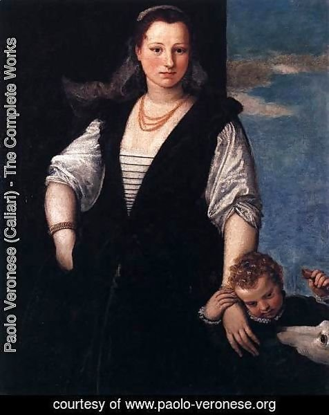 Paolo Veronese (Caliari) - Portrait of a Woman with a Child and a Dog