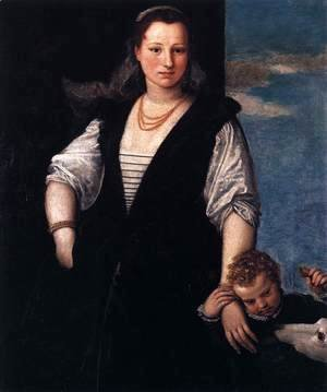 Portrait of a Woman with a Child and a Dog
