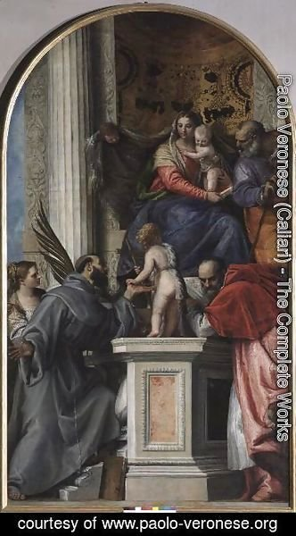 Paolo Veronese (Caliari) - Madonna and Child Enthroned, St. John the Baptist as a Boy, St. Joseph, St. Jerome, St. Justinia and St. Francis