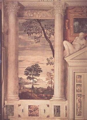 Paolo Veronese (Caliari) - Landscape, detail of the frescoes in the Olympic Room, 1560-62