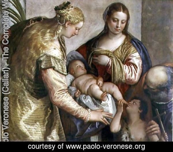 Paolo Veronese (Caliari) - The Holy Family with St. Barbara, c.1550