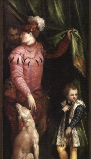 A youth with elegantly dressed boy and greyhound