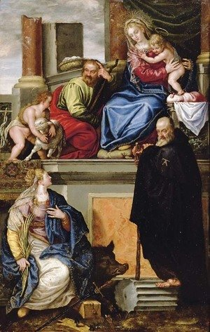 Paolo Veronese (Caliari) - The Holy Family with the Infant Saint John the Baptist, Saint Anthony Abbot and Saint Catherine