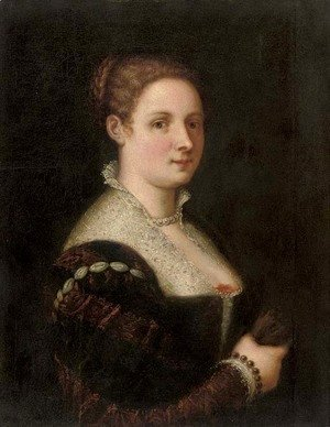 Paolo Veronese (Caliari) - Portrait of a lady, half-length, in a red and black brocade dress with a white lace collar