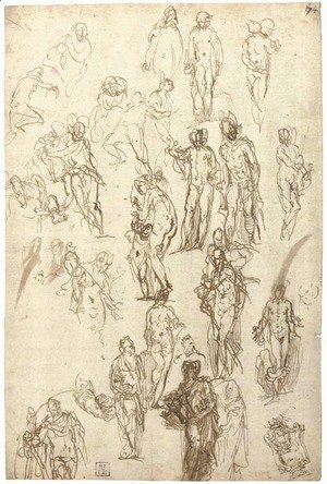 Paolo Veronese (Caliari) - Studies of Mercury, Venus, Cupid and Saturn and other figures