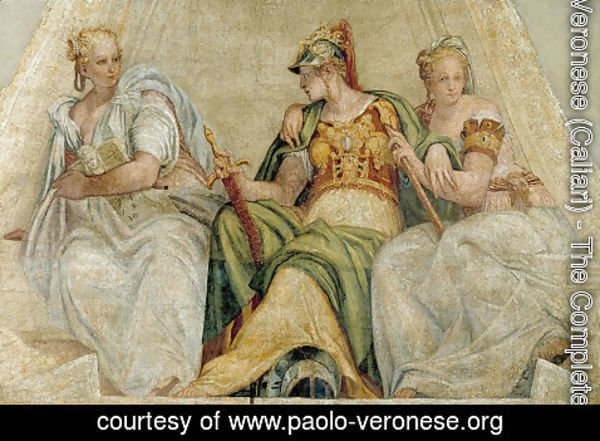 Paolo Veronese (Caliari) - Minerva between the Geometry and Arithmetic